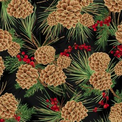 Pine Cones - BLACK/GOLD