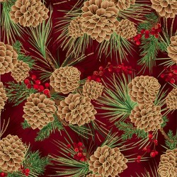 Pine Cones - SCARLET/GOLD