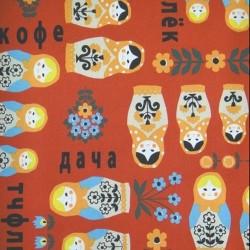 Kokka Japan (100%-Cotton-110cm) - BABUSCHKA DOLLS - RED
