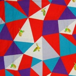 Kokka Japan (85/15-C/Linen-150cm) - BIRDS IN TRIANGLES - RED