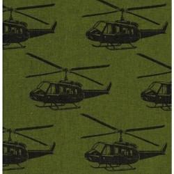 Kokka Japan (85/15-C/Linen-110cm) - HELICOPTERS - GREEN