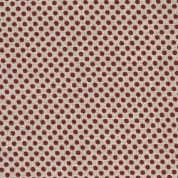 Linen 100% (1.5m) - Dots - NATURAL/RED