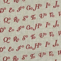 Linen 100% (1.5m) - Alphabets-Natural/RED