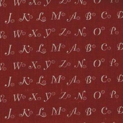 Linen 100% (1.5m) - Alphabets - RED