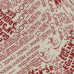 Linen 100% (1.5m) - Newspaper - NATURAL/RED