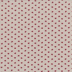 "Linen (60"") HEARTS - RED/NATURAL"