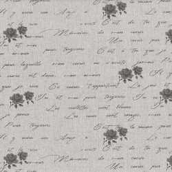 "Linen (60"") FLORAL & TEXT- NATURAL/GREY"