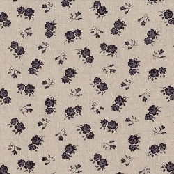 """Linen (60"""") FLORAL - NATURAL/MAUVE"""