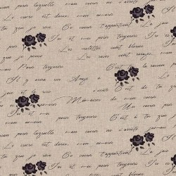 "Linen (60"") FORAL & TEXT - NATURAL/MAUVE"