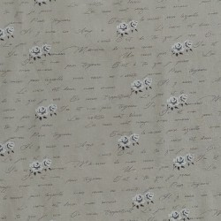 "Linen (60"") FLORAL & TEXT- NATURAL/CREAM"