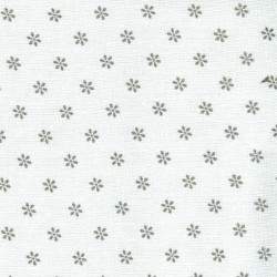 Linen 100% (1.5m) - Flowers - GREY
