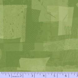 FABRIC SCRAP COLLAGE - LT GREEN