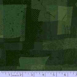 FABRIC SCRAP COLLAGE - DK GREEN