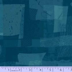 FABRIC SCRAP COLLAGE - BLUE