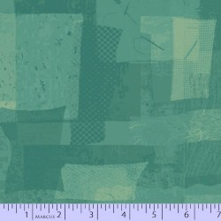 FABRIC SCRAP COLLAGE - AQUA