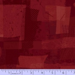 FABRIC SCRAP COLLAGE - RED