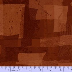 FABRIC SCRAP COLLAGE - RUST