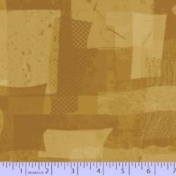 FABRIC SCRAP COLLAGE - MUSTARD