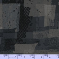 FABRIC SCRAP COLLAGE - DARK GREY