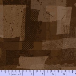 FABRIC SCRAP COLLAGE - BROWN