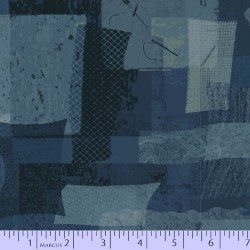 FABRIC SCRAP COLLAGE - DK BLUE