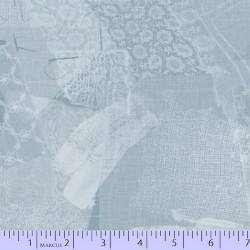 LACE FABRIC SCRAP COLLAGE - LT BLUE