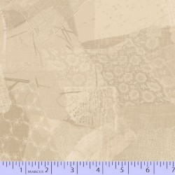 LACE FABRIC SCRAP COLLAGE - ECRU
