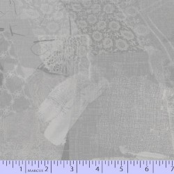 LACE FABRIC SCRAP COLLAGE - GREY