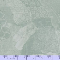 LACE FABRIC SCRAP COLLAGE - GREEN