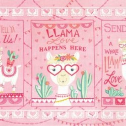 Llama Love Panel (60cm) - PRETTY PINK