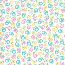 BURSTING BLOOMS - WHITE/TURQUOISE