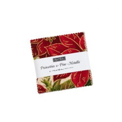 Poinssettia & Pine Metallic Mini charm Pk
