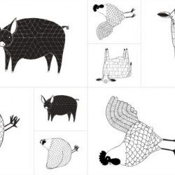 FARM ANIMALS PANEL (60CM) - BLACK/WHITE