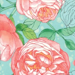 "Cabbage Rose Rayon (57"" wide) - SEAFOAM"