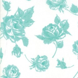 "ROSY 54"" COTTON LAWN - CREAM/AQUA"