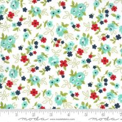 Little Floral - WHITE/AQUA