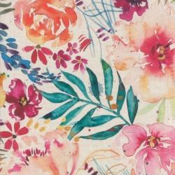 Flower party Digital Linen - NATURAL