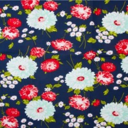 "16"" TOWELLING - NAVY FLOWERS"