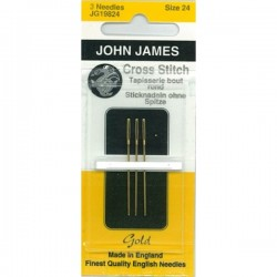 JJ Needles - Gold Plated - TAPESTRY/CROSSSTITCH #24 (3x)