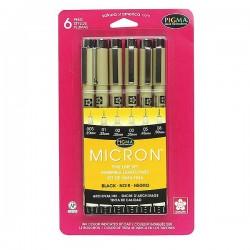 Pigma Pen - Set (6pk) - Black Color- ASST SIZES
