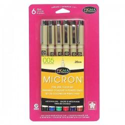 Pigma Pen 005 (.20mm) - Set (6pk) - ASST COLORS