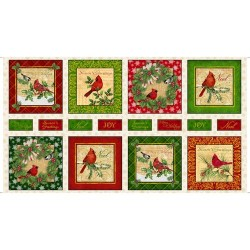 Panel - Christmas Cardinals 60cm - MULTI