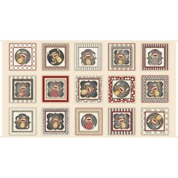Panel - Sock Monkey Picture Patches 60cm - RED