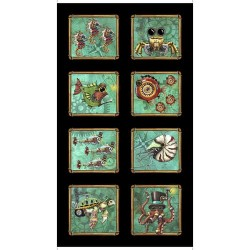 Panel - Steampunk Aquatic Patch 60cm - BLACK