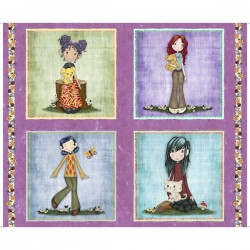 Panel - Girl Picture Patches 90cm - PURPLE