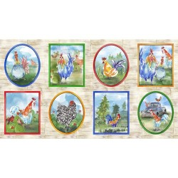 Panel - Rooster Picture Patches 60 cm - BEIGE