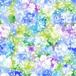 Watercolour Feature Floral - BLUE