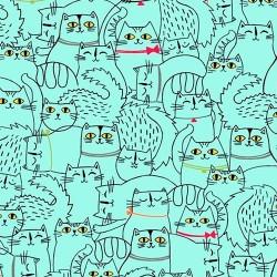 SKETCHED CATS - AQUA