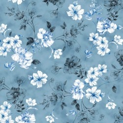 SPACED FLORAL VINE - DK CHAMBRAY