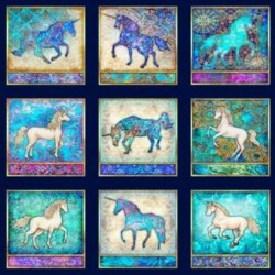 UNICORN PICTURE PATCHES PANEL (90CM) - NAVY